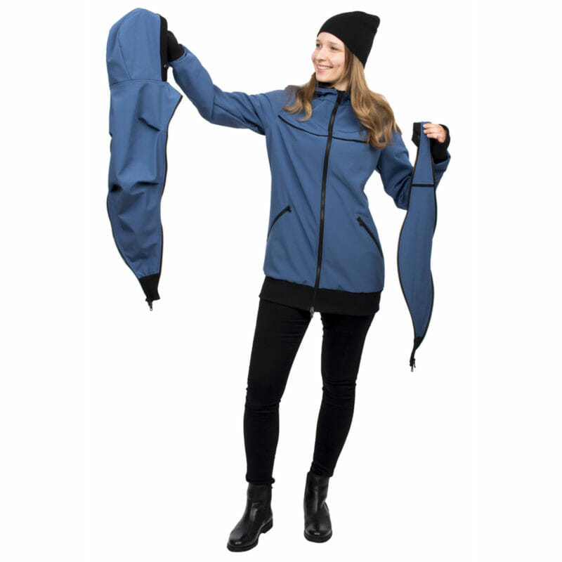 Baby Model Berlin 4in1 Babywearing Coat Softshell Aventuris In Azure