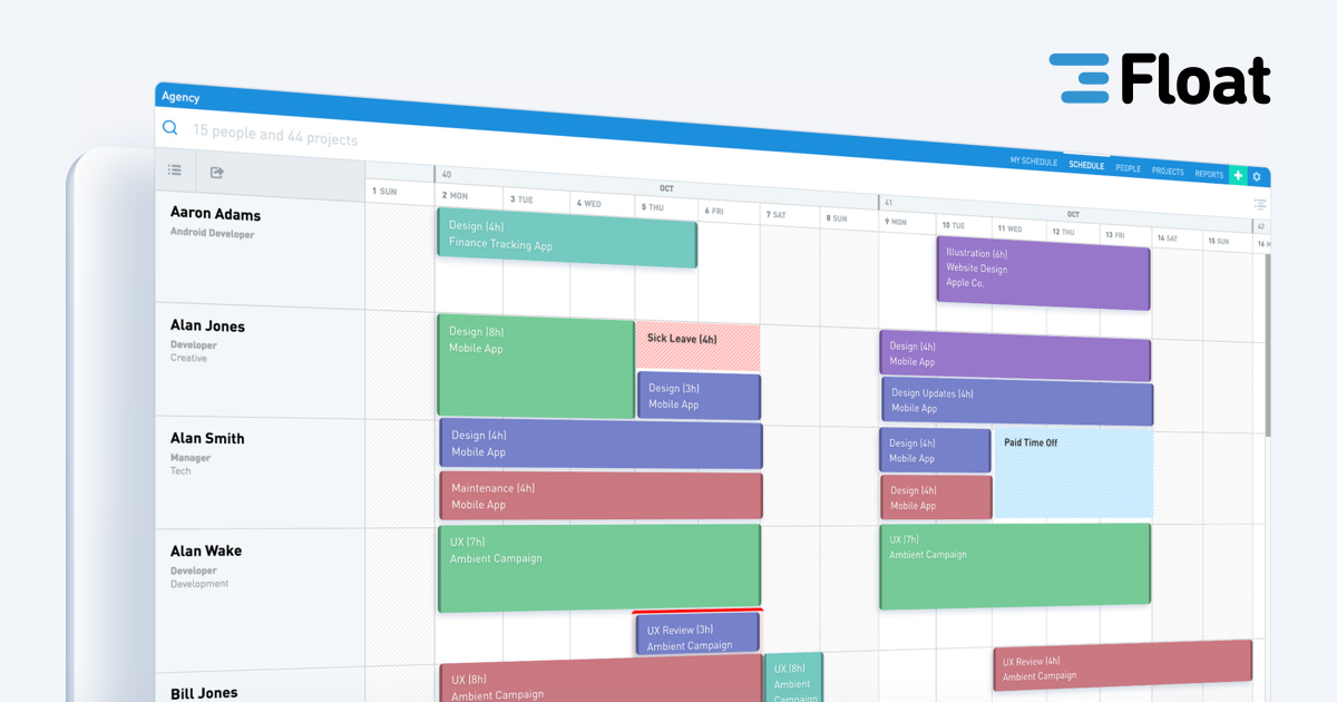 Float - Resource Scheduling App - Employee Team Management Software