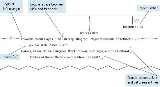 mla format for work cited