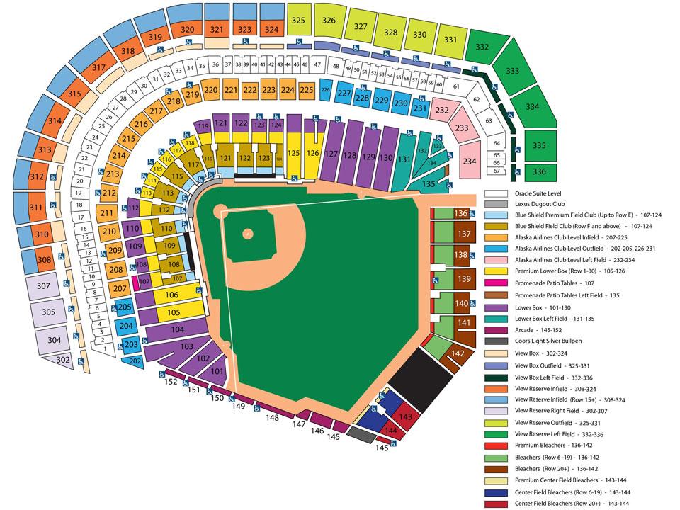 ATT Park Seating Chart San Francisco Giants