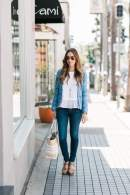 a feminine and sophisticated casual outfit blue tweed jacket M Loves M