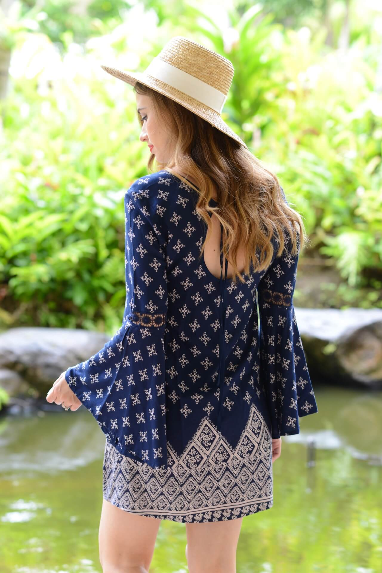 bohemian bell sleeve dress with sun hat