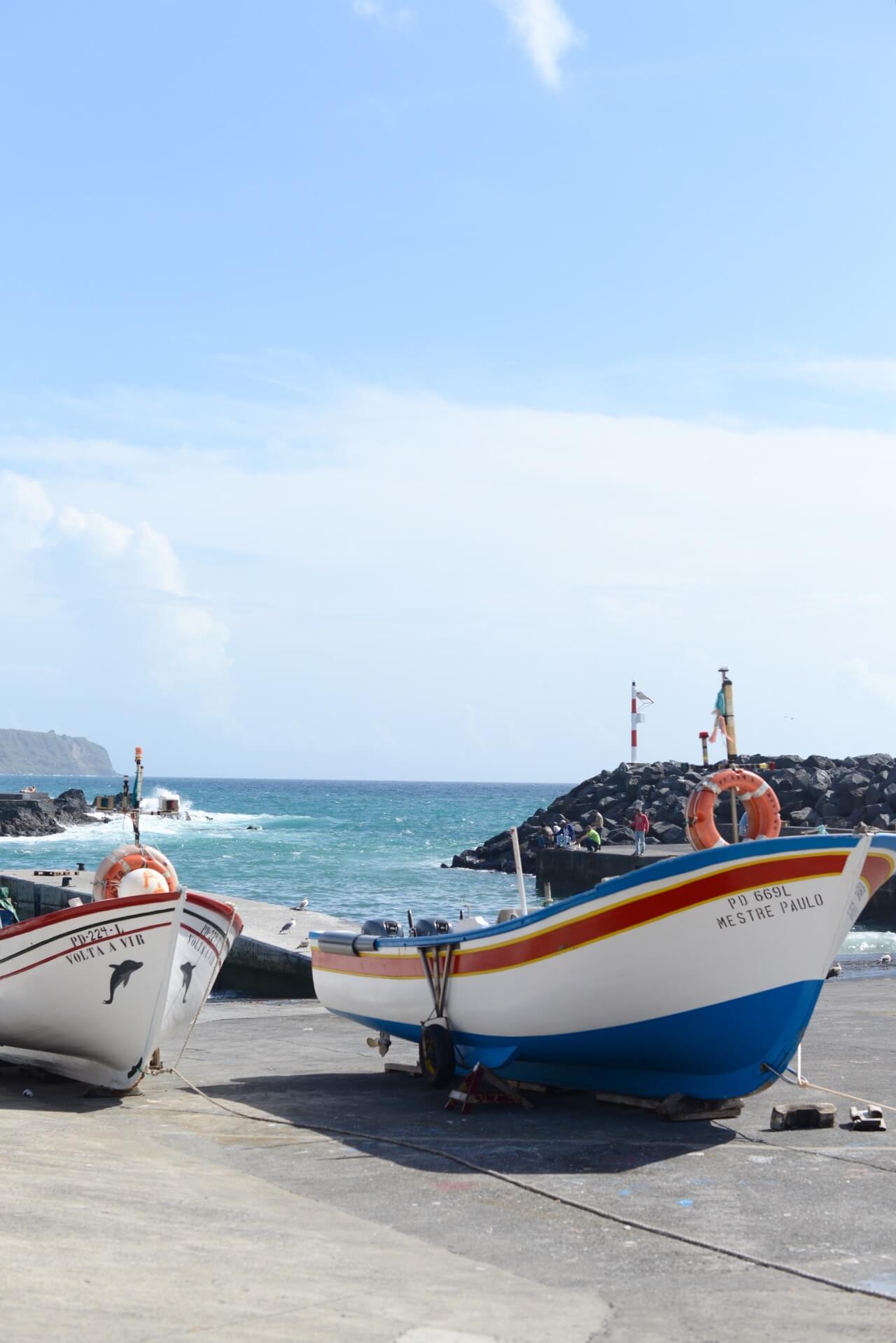 boats in Ponte Delgada Sao Miguel