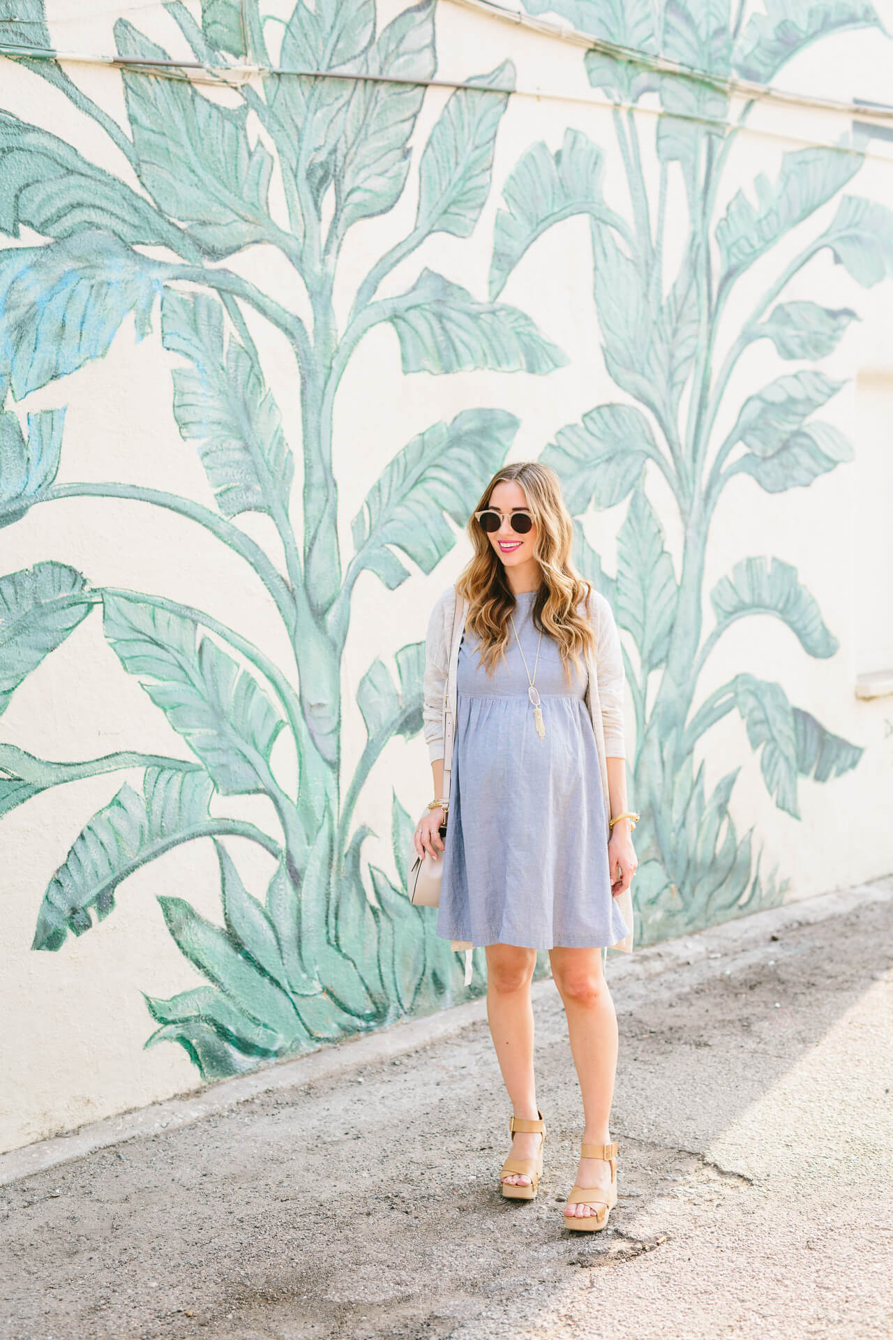 cute summer or fall outfit inspiration: chambray dress with wedges and cardigan