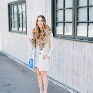 a feminine blue and beige outfit