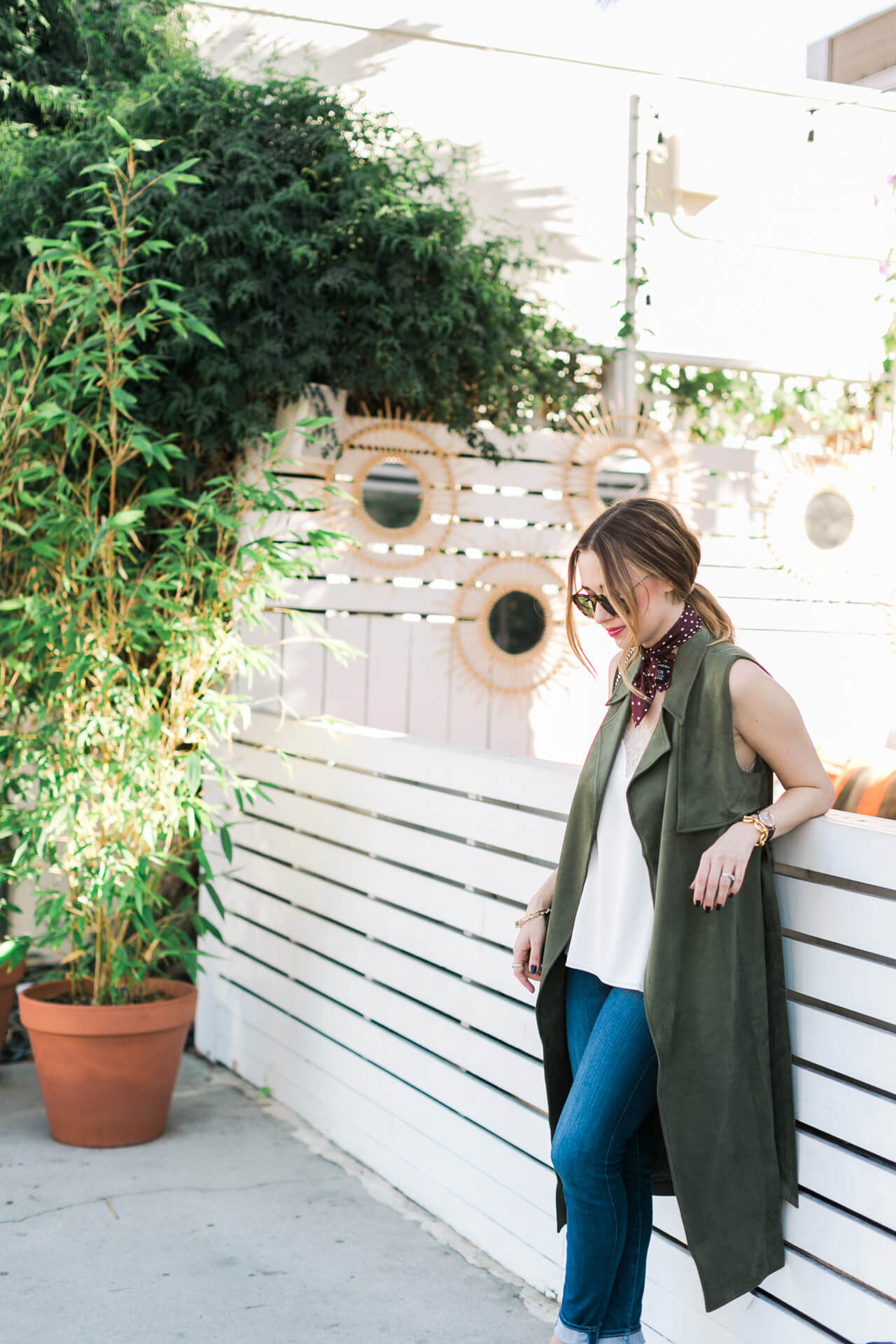 green suede trench with jeans