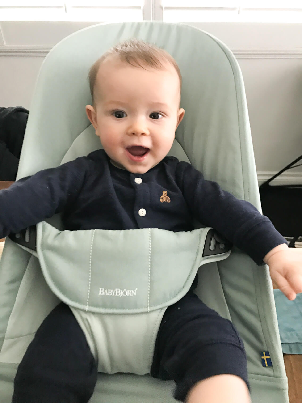 Augustine in Baby Bjorn Bouncer