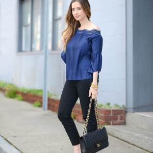 outfit inspiration with navy silk blouse