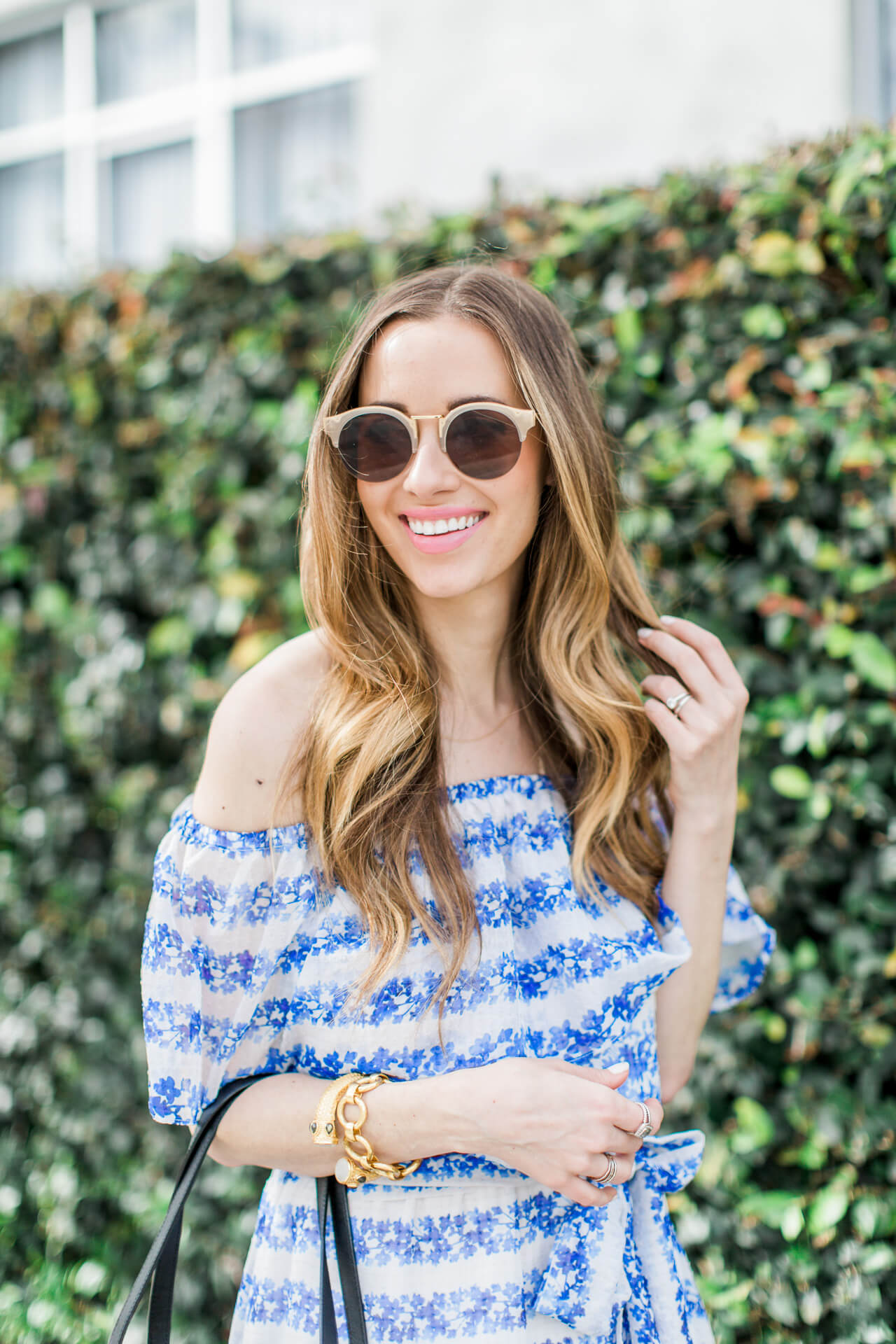 cute nude sunglasses from sole society with off the shoulder dress