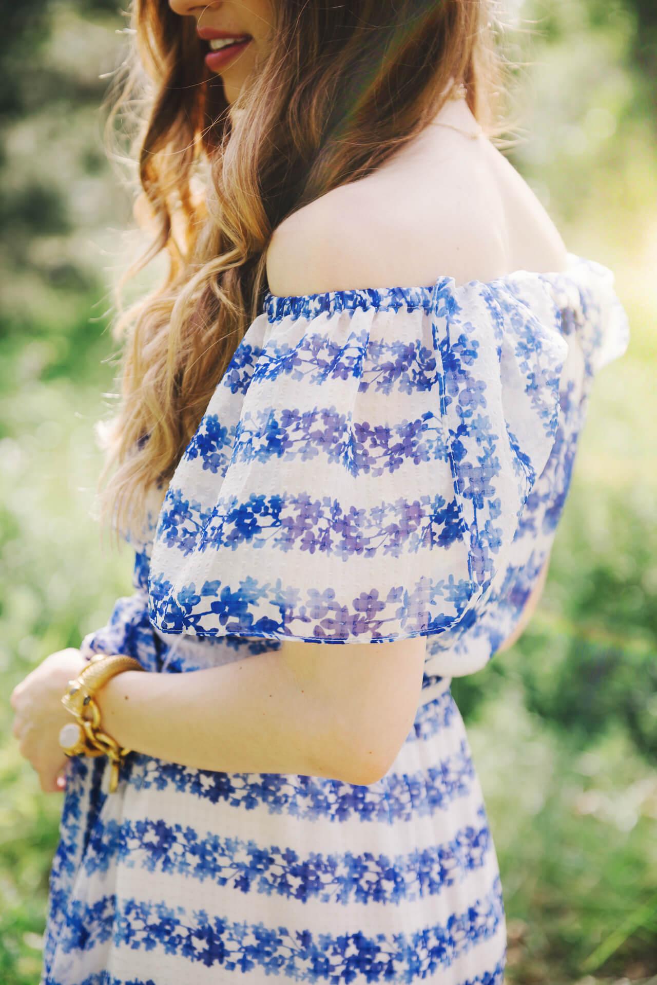 floral off the shoulder dress for spring