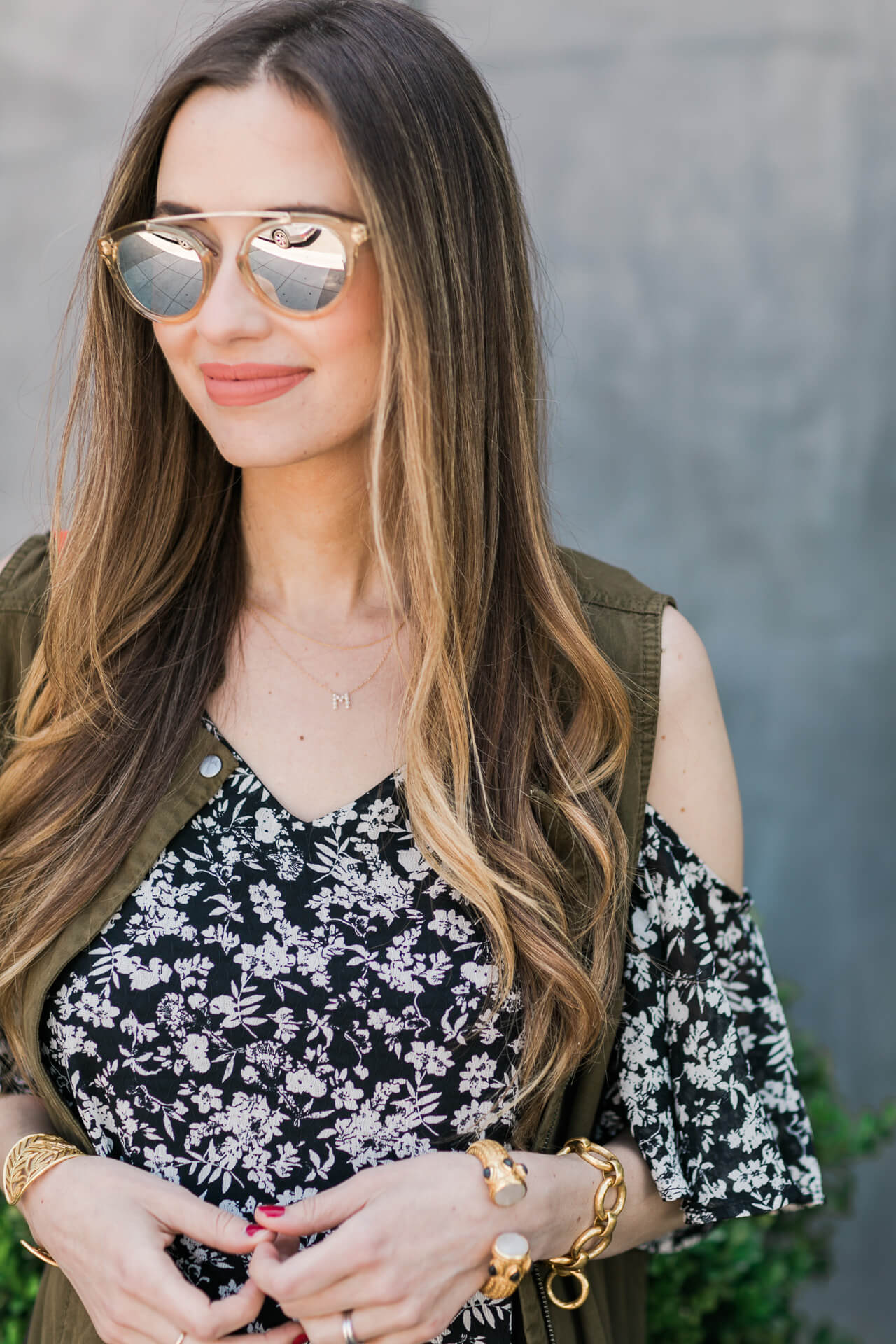 layering with a cold shoulder dress