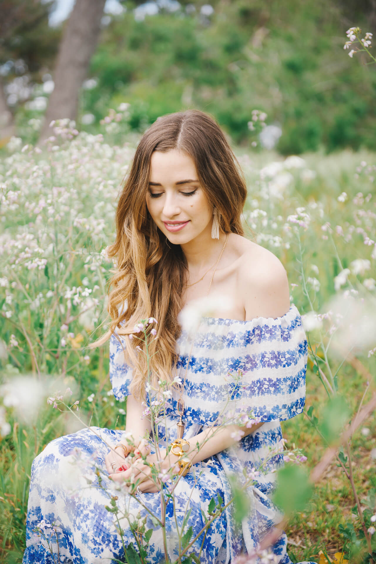 pretty blue floral dress for spring