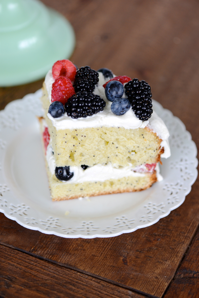 Lemon Poppy Seed Cake with Mascarpone Frosting and Fresh Berries Recipe M Loves M @marmar
