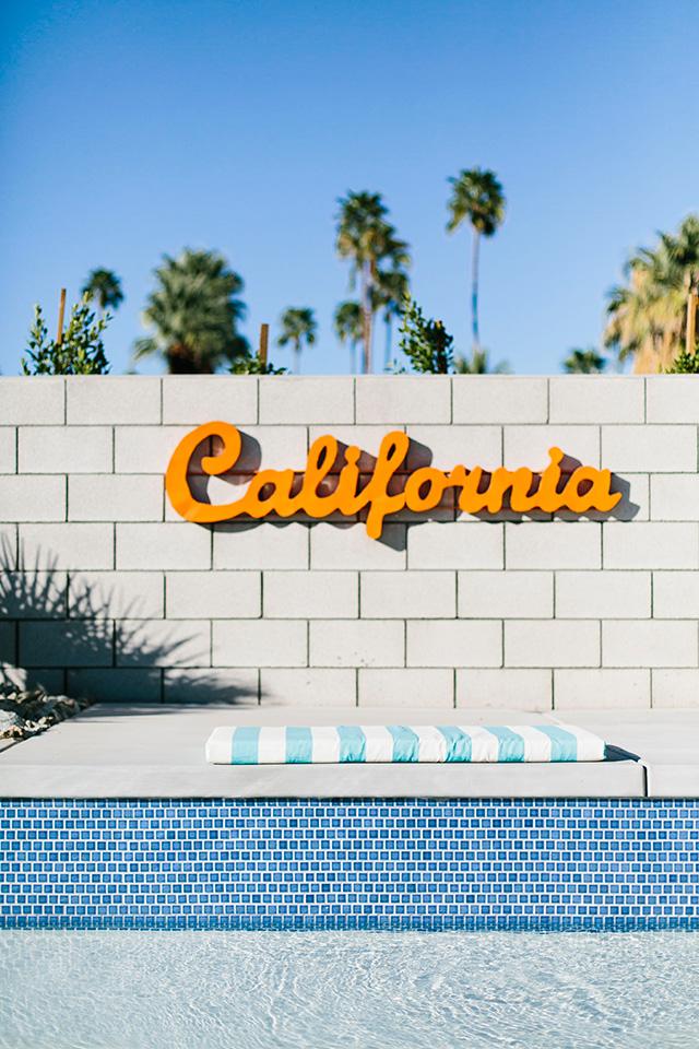 Desert Eichler House in Palm Springs with California sign M Loves M