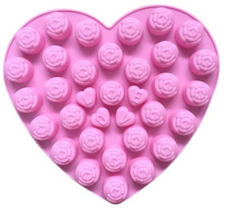 Molde De Silicona - Rosas Y Corazones (726) - $ 330,00 en Mercado Libre - rosas y corazones