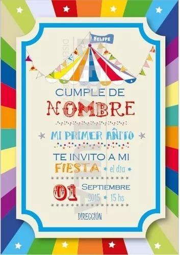 Tarjeta Invitación Cumpleaños Infantil Circo Original! - $ 9,00 en