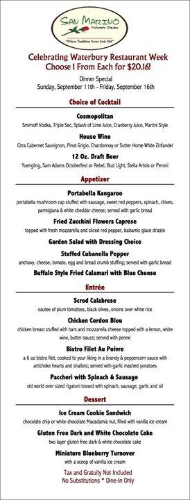 La Tavola Waterbury Menu Greater Waterbury Restaurant Week 2017 | Connecticut