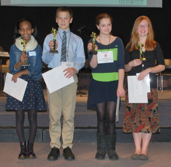 Abigail Mulugeta (far left) and the other three students who qualified to move on to the ACSI Northwest Regional Spelling Bee later this month.