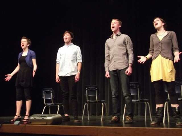 Students from Edmonds Heights K-12 perform in the musical ensemble division of the Washington State Thespians IE West Festival Saturday at Mountlake Terrace High School; from left -- Alia Thomair, Tyler Good, Tate Busby, Mariah Lotz. (Photos by Doug Petrowski)