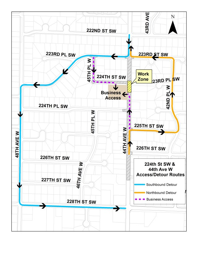 Detours and alternative routes will be effect this week as motorists will have to deal with lane closures on 44th Avenue West during daytime hours.