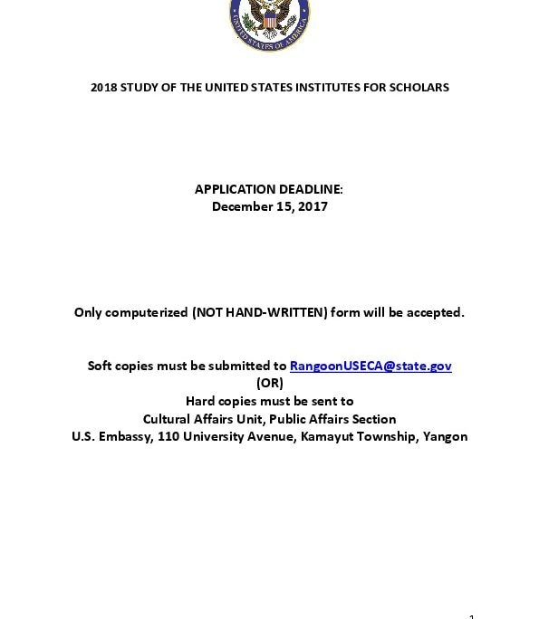 2018 SUSI for Secondary School Scholars Application Form US - application form in pdf