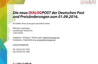 Update für Sie +Lettershop – Porto – News – Preise – Update – Dialogpost+