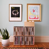 Minimal, modular wood crates for vinyl collections