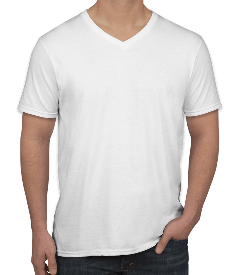 V Neck T Shirt Custom Gildan Softstyle Jersey V-neck T-shirt - Design