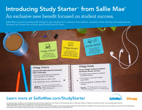 Sallie Mae and Chegg Partner on New Student Loan Benefit to Support