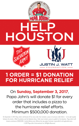 Pizza with a Purpose Sunday, September 3, Papa John\u0027s to Donate a - Disaster Relief Flyer