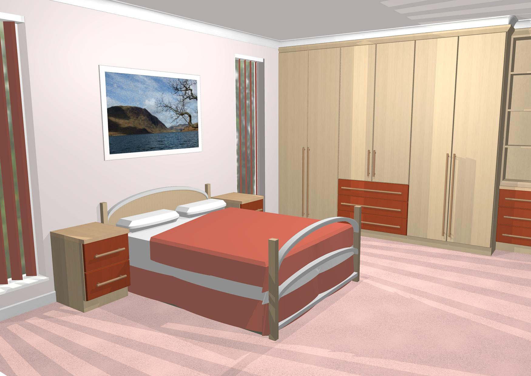 Normale Slaapkamer 3d Cad Gallery Image Of Bedroom With Long Handles And