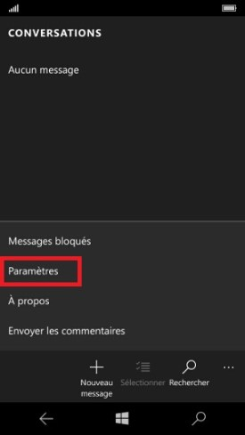 MMS Lumia Windows 10 message paramètres 2
