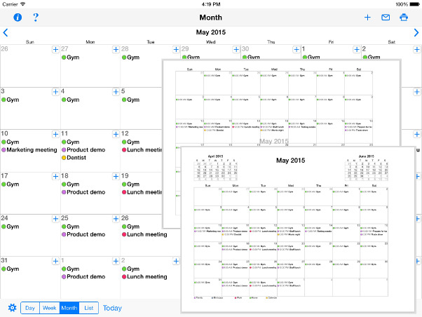 Print Reminders and your Calendar for iPad and iPhone - print month