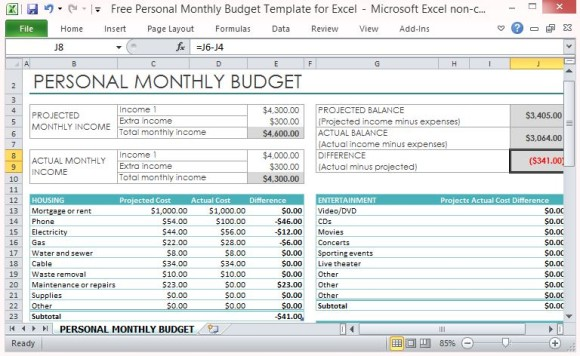 Budget Excel Template mobile discoveries