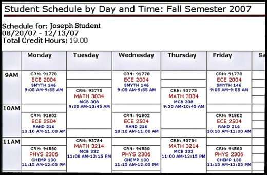 College Class Schedule mobile discoveries