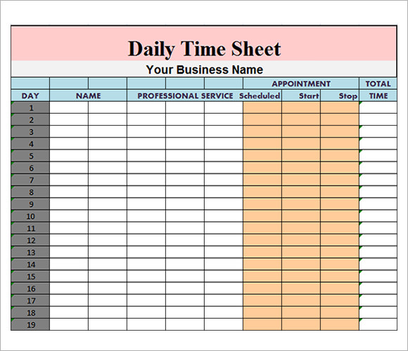 Daily Timesheet Excel Template mobile discoveries