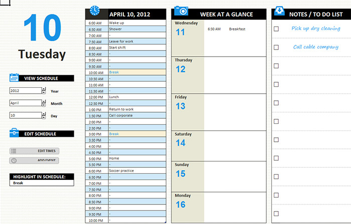 Free Daily Calendar Template mobile discoveries
