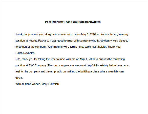 Interview Thank You Note mobile discoveries