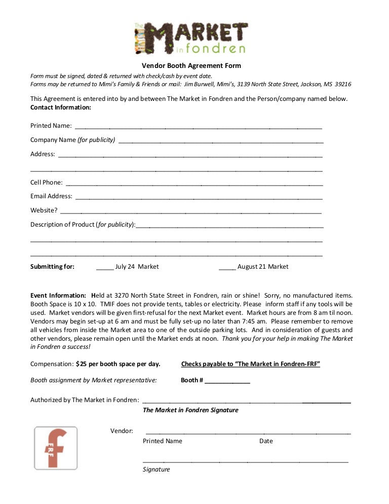 Vendor Agreement Form mobile discoveries