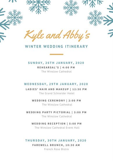 Wedding Itinerary mobile discoveries