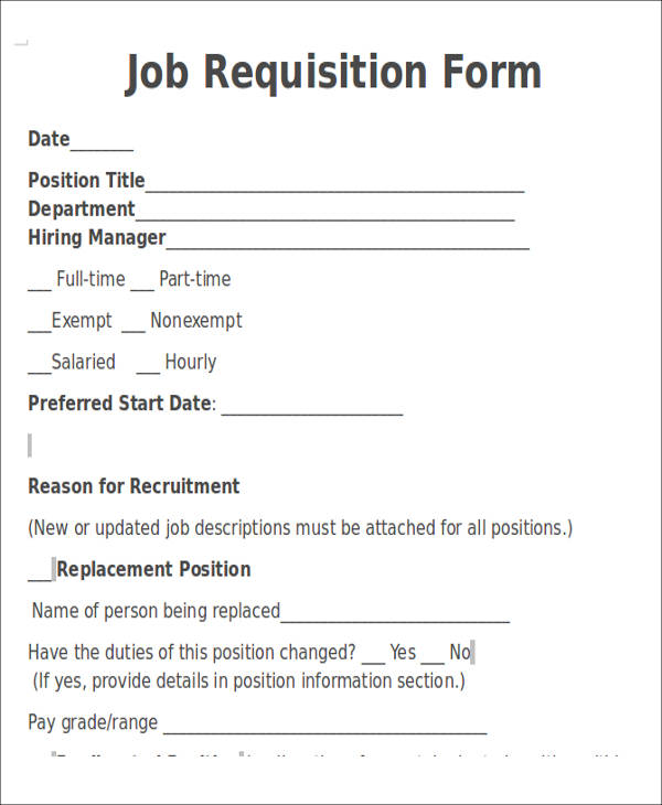 Job Requisition Form mobile discoveries
