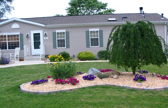 landscaping around a double wide mobile home