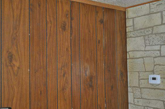 Wood Paneling Makeover Aged Plaster Treatment