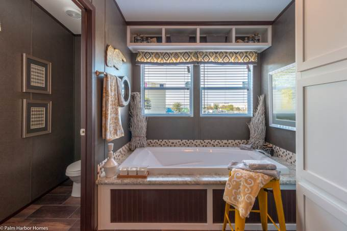 Featured manufactured home the arlington by palm harbor for Mobile home master bathroom remodel