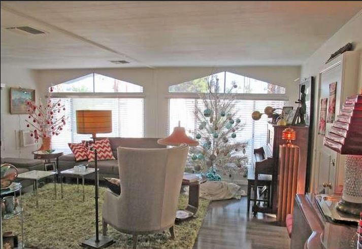 beautiful mid century mobile home living room