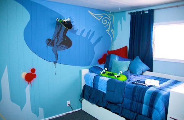 kids bedroom ideas - skateboard theme