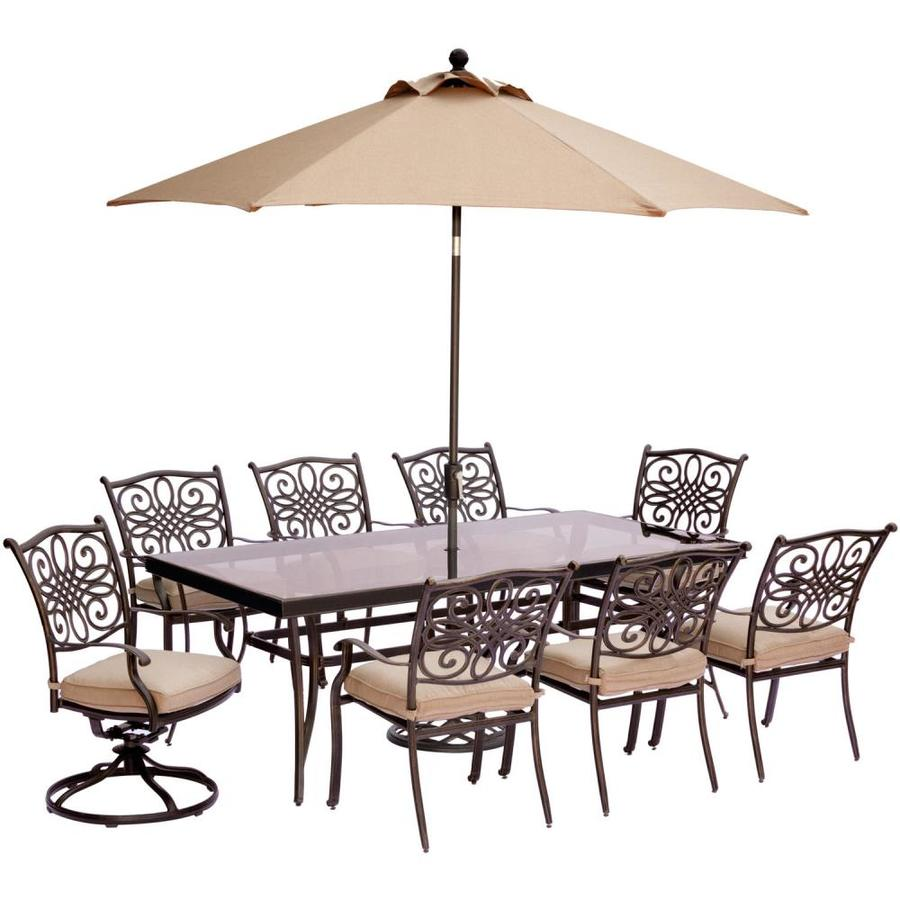 9 Piece Outdoor Dining Set Hanover Outdoor Furniture Traditions 9 Piece Bronze Metal Frame
