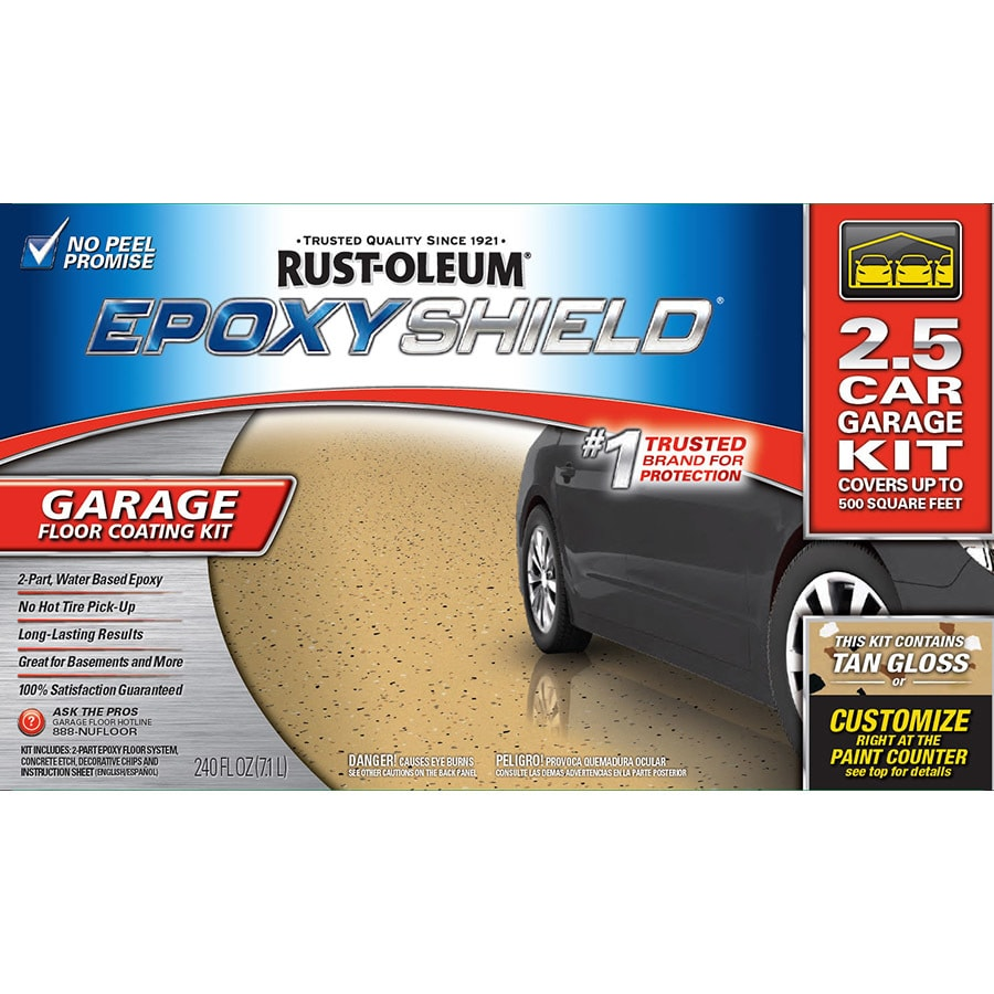 Garage Floor Epoxy Kit Reviews Rust Oleum Epoxyshield 2 Part Tan Gloss Garage Floor Epoxy Kit