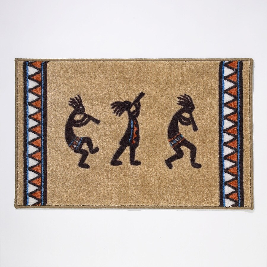 Kokopelli Shower Curtain Avanti Kokopelli 20 In X 30 In Gold Polyester Bath Rug At Lowes