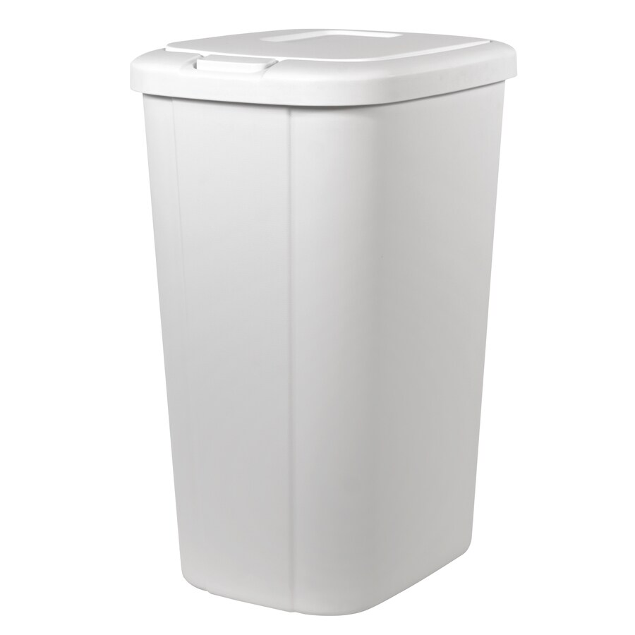 Small White Trash Can With Lid Trash Cans At Lowes